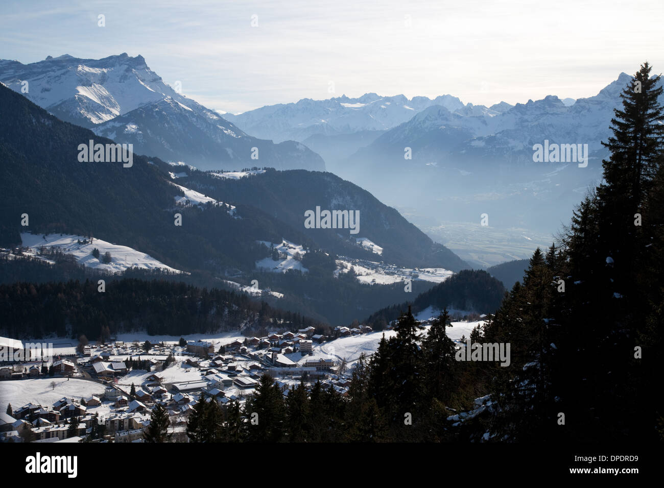 Alpine skiing village of Leysin at 1350m, Swiss Alps, Vaud, Switzerland Europe - Stock Image
