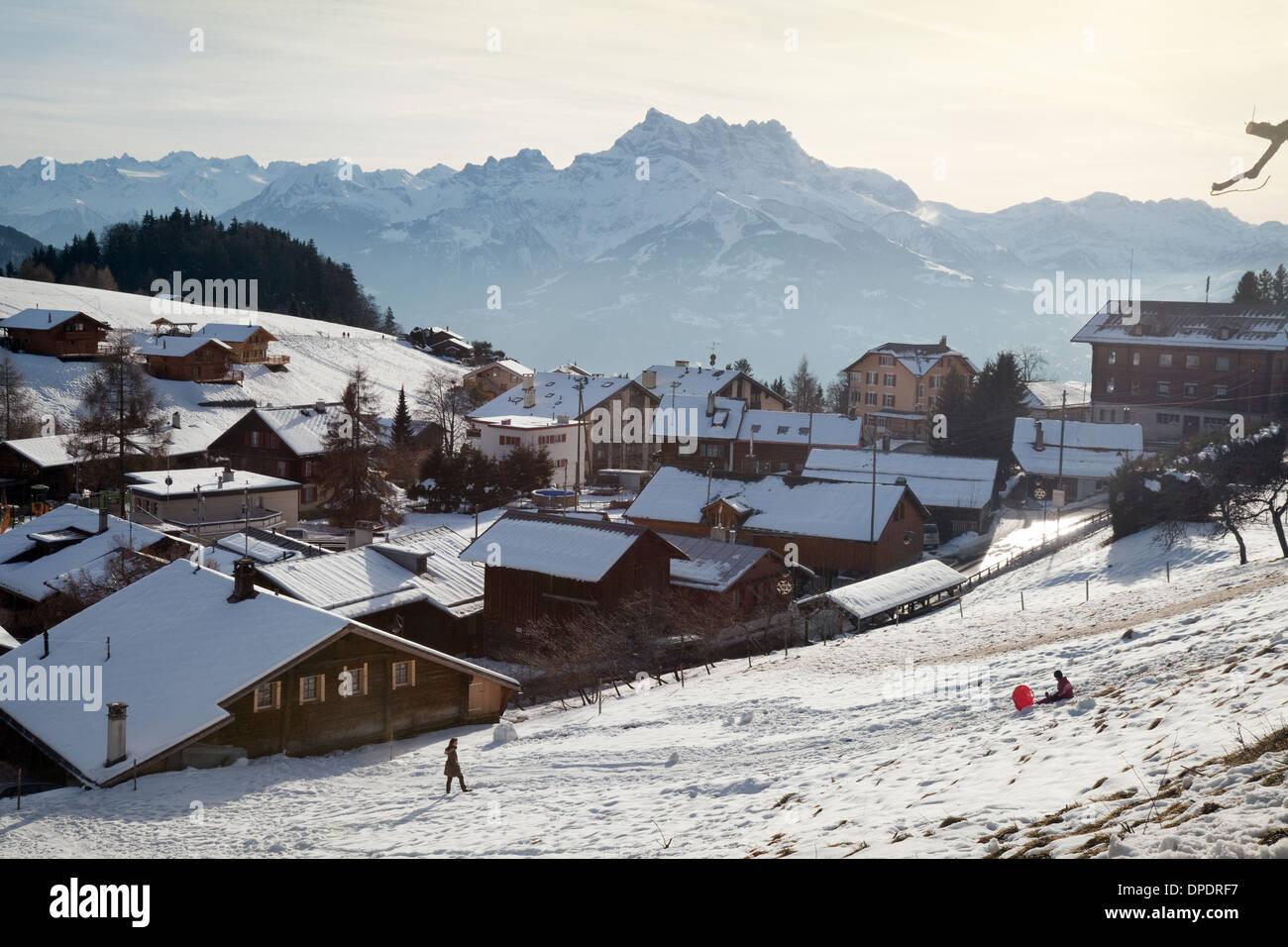 Alpine skiing village of Leysin at 1350m, Swiss Alps, Canton of  Vaud, Switzerland Europe - Stock Image