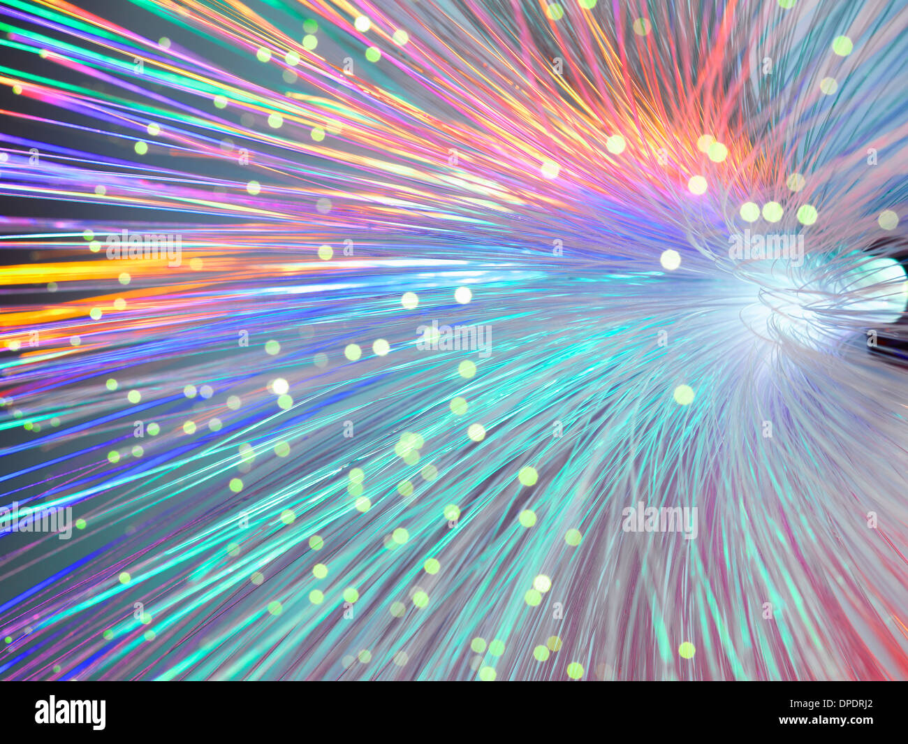 Bundle of fibre optics used to send data - Stock Image