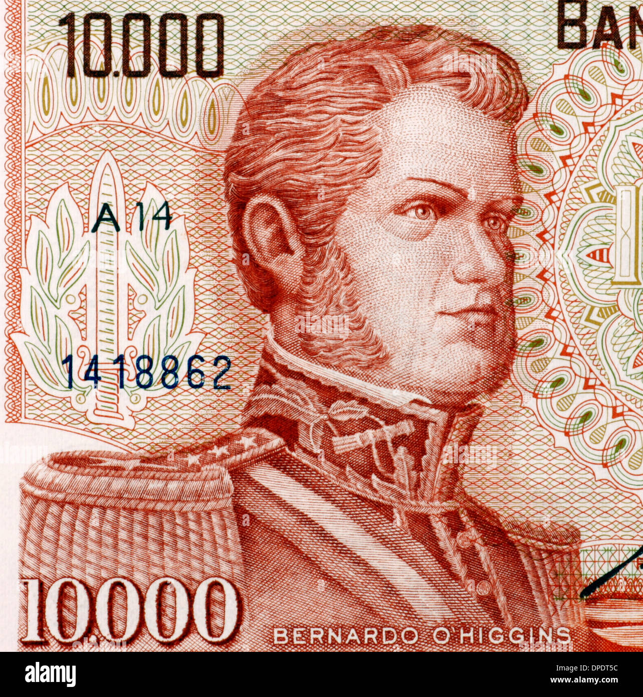 Bernardo O'Higgins (1778-1842) on 10000 Escudos 1970 from Chile. Chilean independence leader. - Stock Image