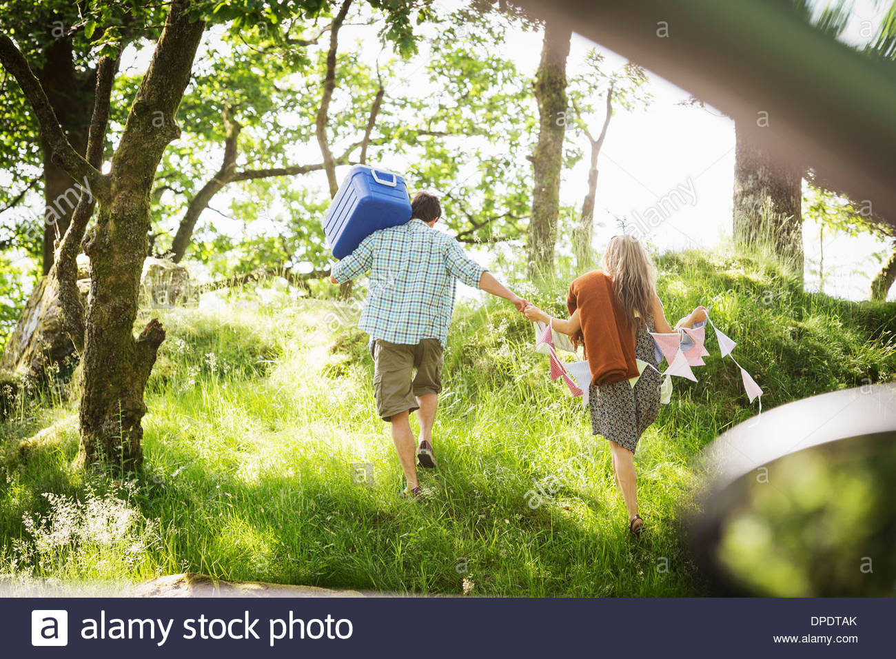Young couple in forest with bunting and cool box - Stock Image