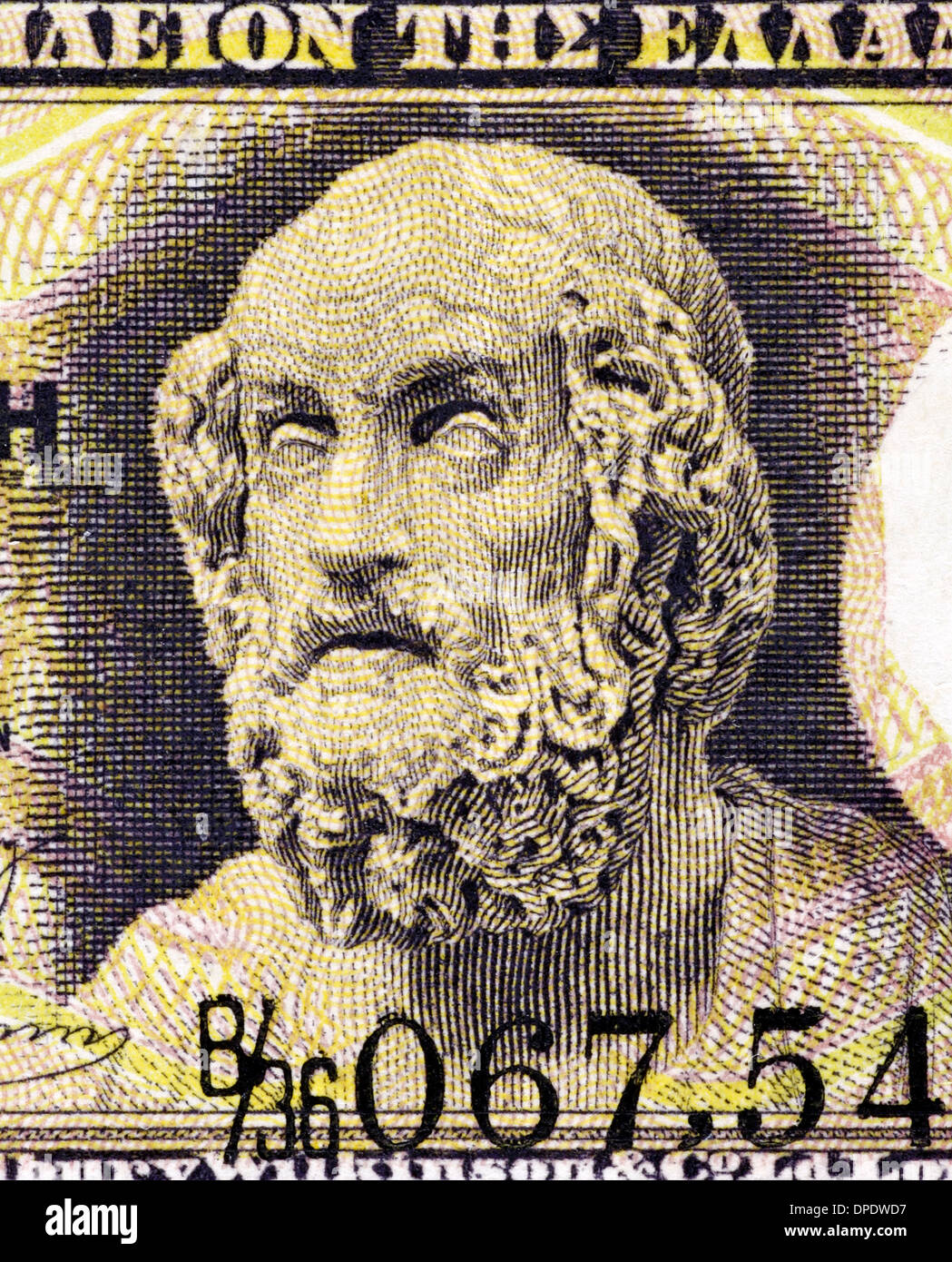 Homer on 1 Drachma 1917 Banknote from Greece. Author of the Iliad and the Odyssey. One of the greatest ancient Greek poets. - Stock Image