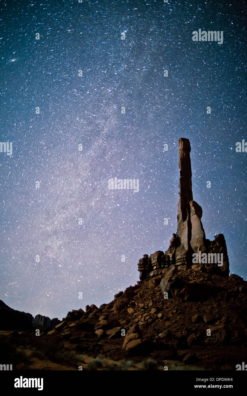 The Totem Pole and the MIlky Way, Monument Valley Tribal Park, Arizona Navajo Reservation, thin pinnacle of De Chelly sandstone - Stock Image