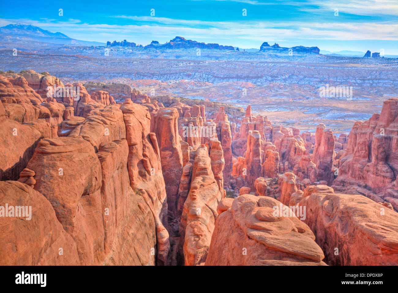 Fiery Furnace seen from above Arches National Park Utah Famous area of labyrinth of canyons and rock fins Window Section Beyond - Stock Image