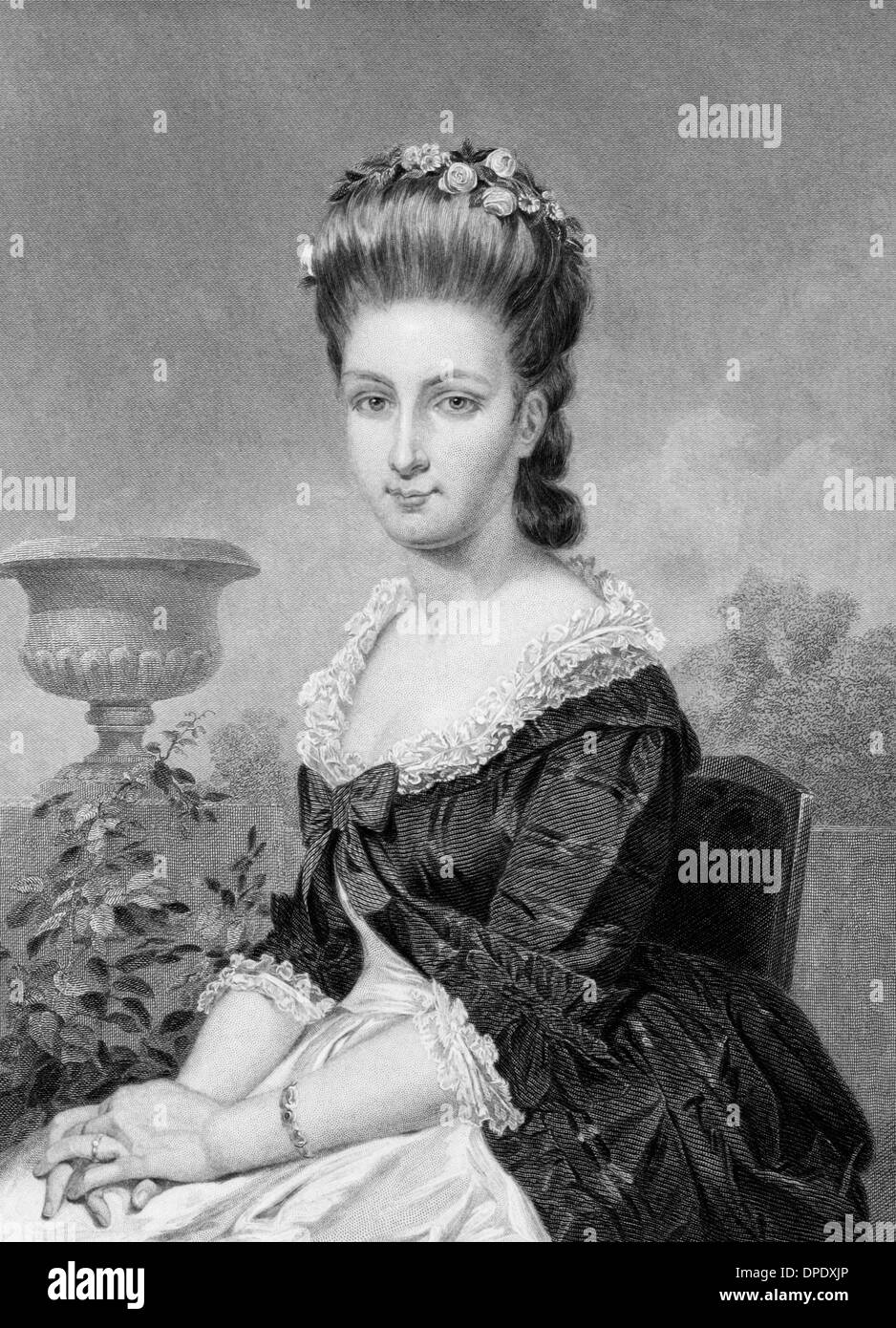 Sarah Van Brugh Livingston (1756-1802) on engraving from 1873. Wife of the first chief of justice of the USA. Stock Photo