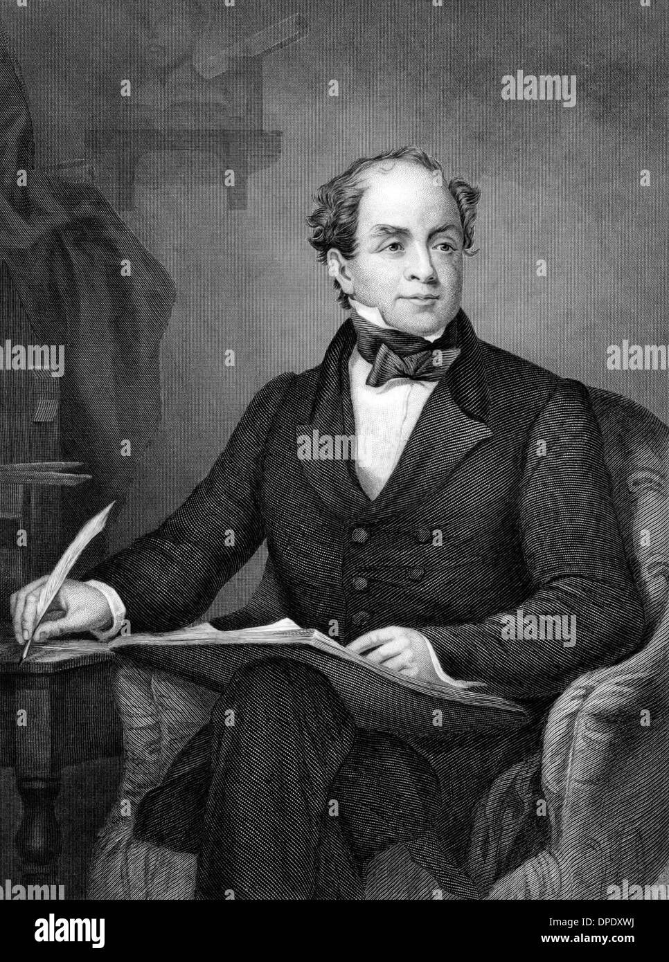 Thomas Moore (1779-1852) on engraving from 1873.  Irish poet, singer, songwriter and entertainer. - Stock Image