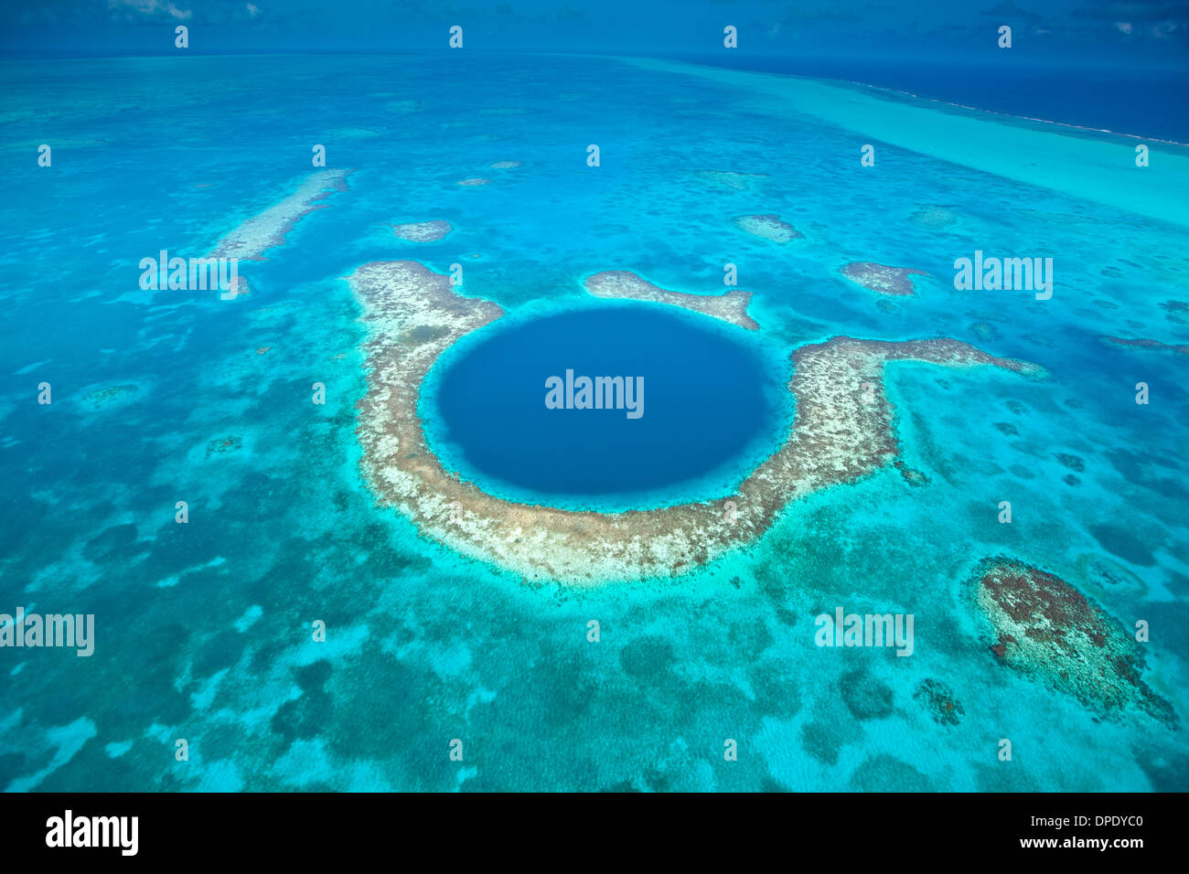 The Blue Hole Blue Hole National Monument, Belize Caribbean Sea Meso-American Reef Lighthouse Reef Atoll 400 foot hole in reef - Stock Image