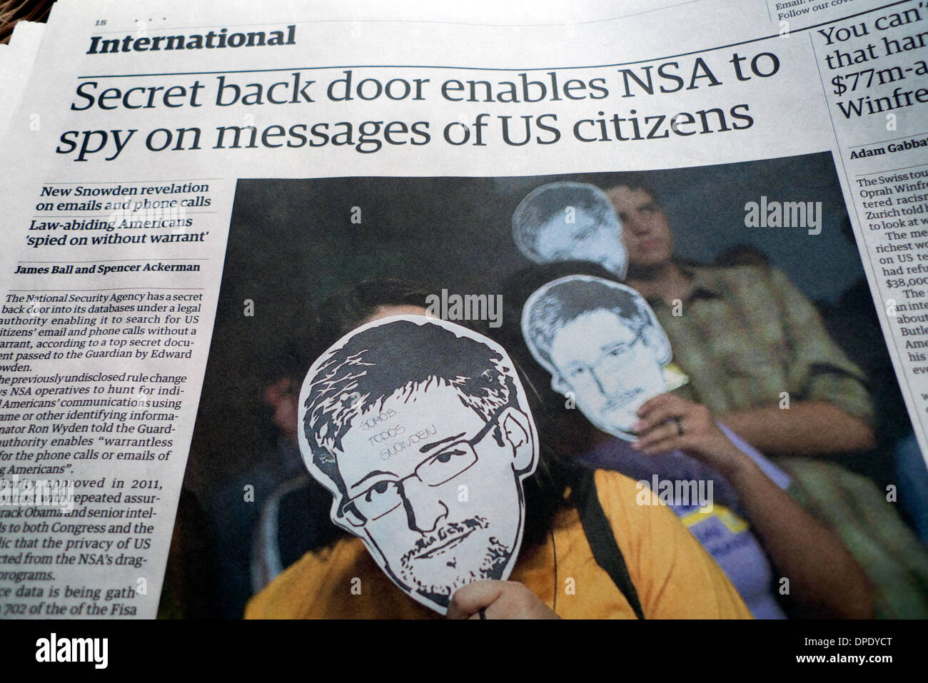 "Edward Snowden article in Guardian newspaper ""Secret back door enables NSA to spy on messages of US citizens"" London Stock Photo"