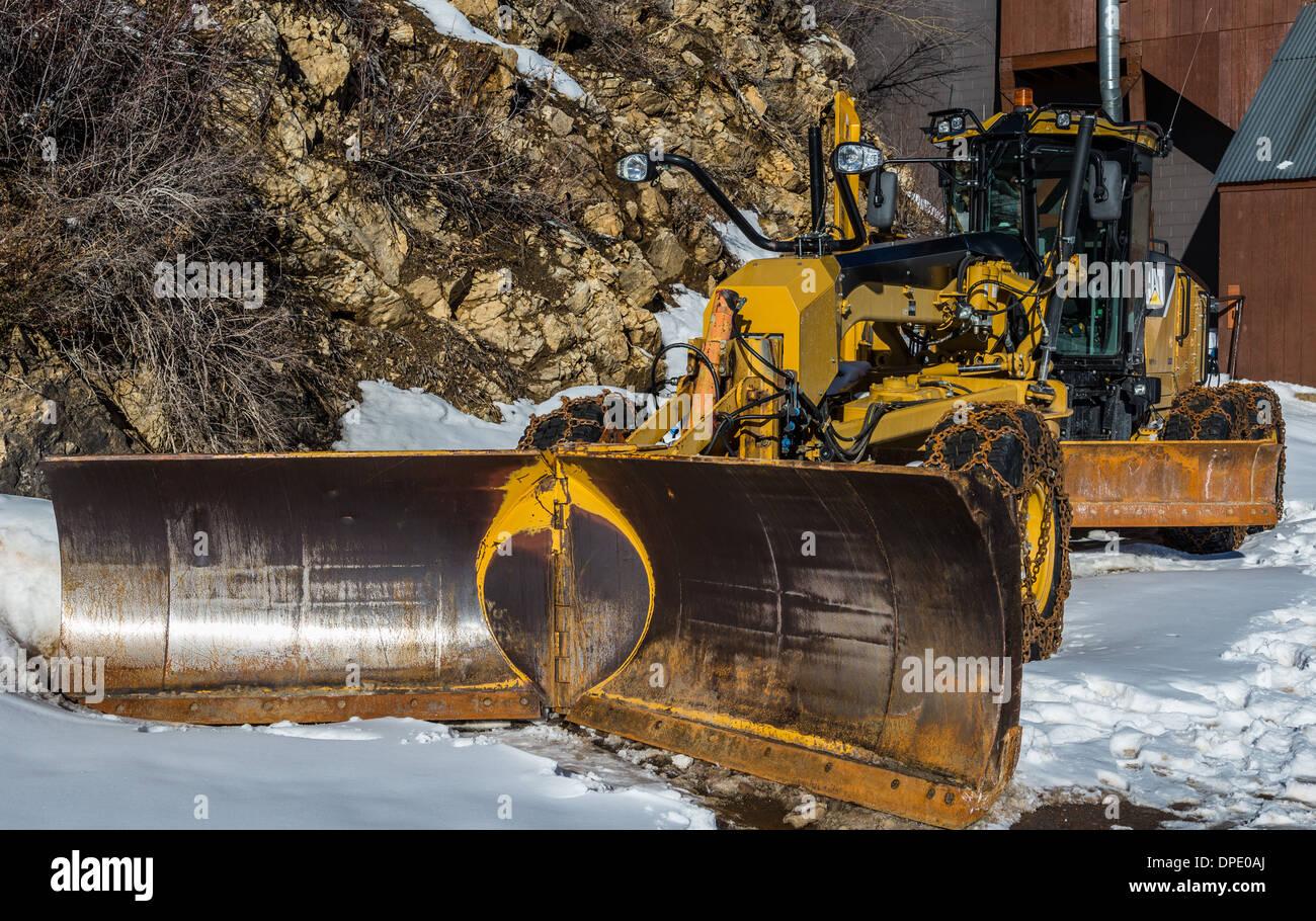 Heavy-duty snowplow. Alta, Utah, USA. - Stock Image