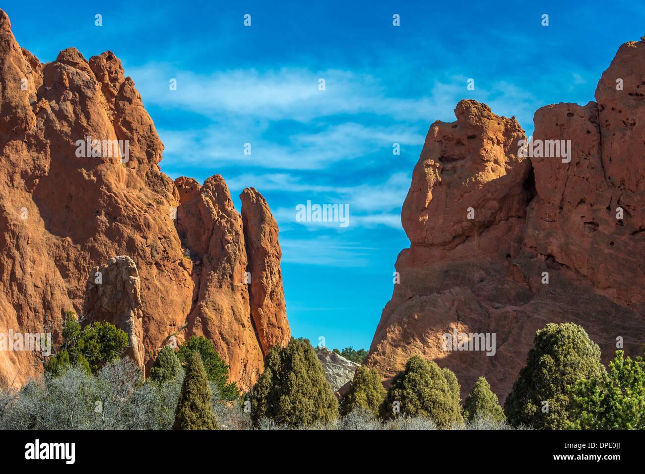 Garden Of The Gods background landscape just outside Colorado Springs, Colorado USA. - Stock Image
