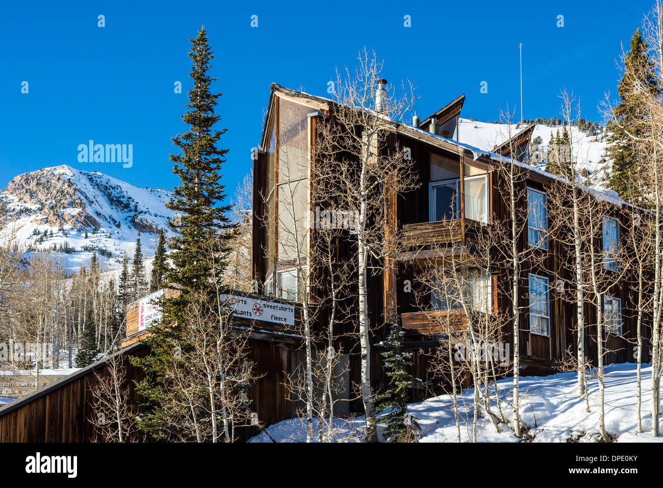 A ski condominium at Alta Ski Resort. Utah, USA. - Stock Image