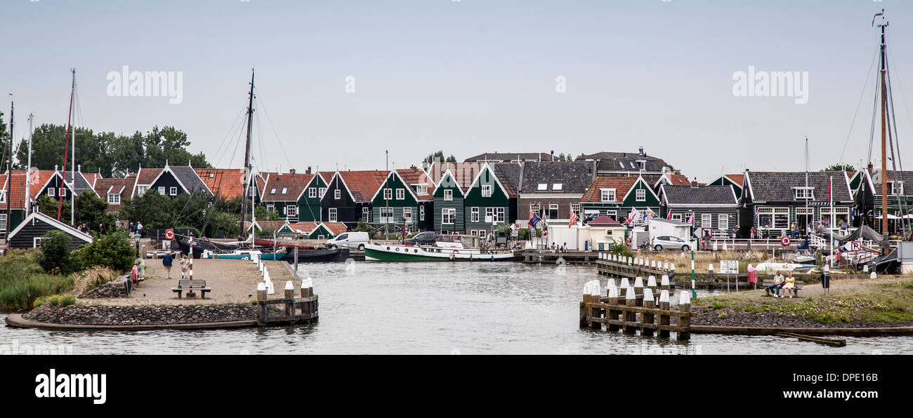 Houses, harbor and sailing boats, Marken, Netherlands - Stock Image