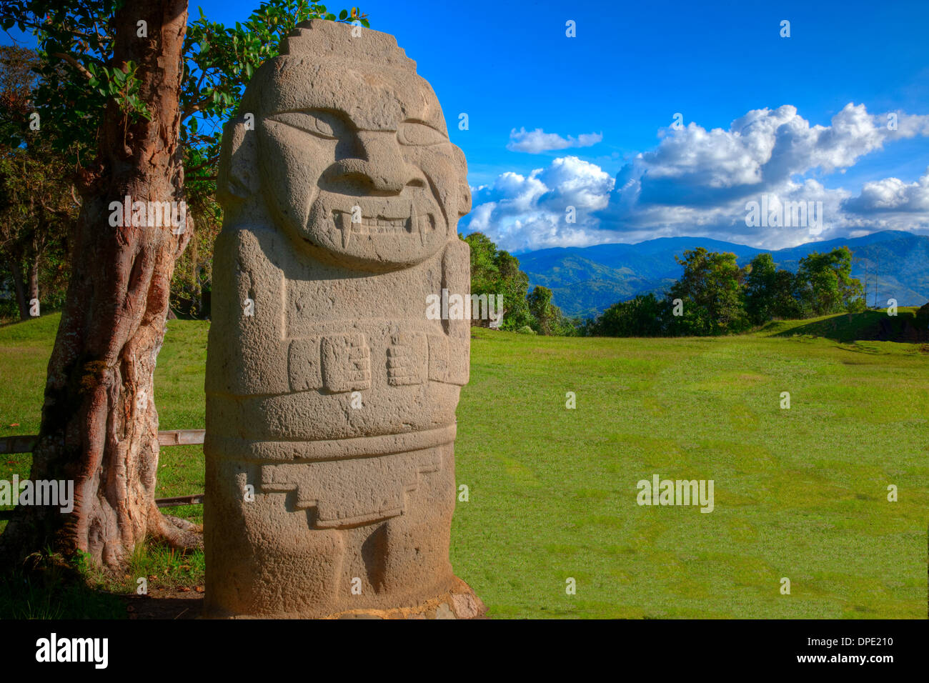 Ancient statue and the Andes San Agustin Archeological Park Colombia 3000 year statues from unknown culture - Stock Image