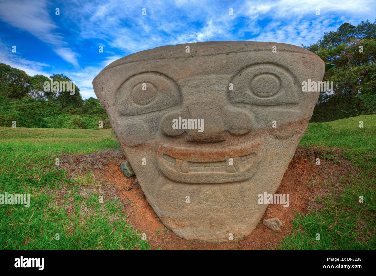 Sun God statue, San Agustin Archaeological Park, Colombia, 3000 year statues from unknown culture - Stock Image