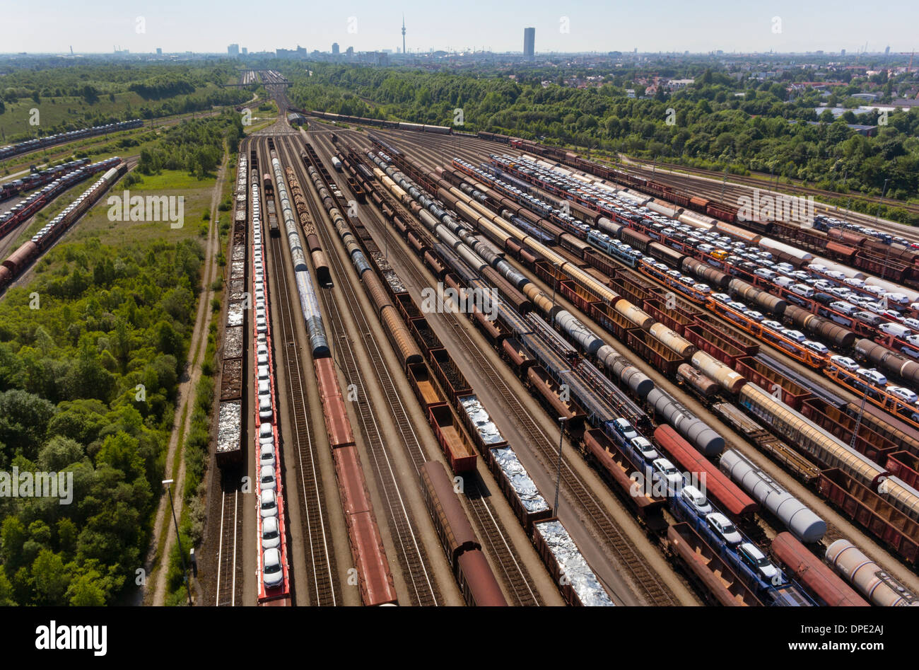 View of rail lines and freight, Munich, Bavaria, Germany - Stock Image