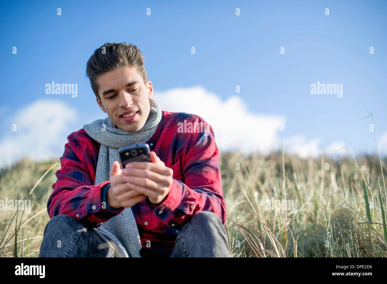 Young man sitting on grass using smartphone - Stock Image