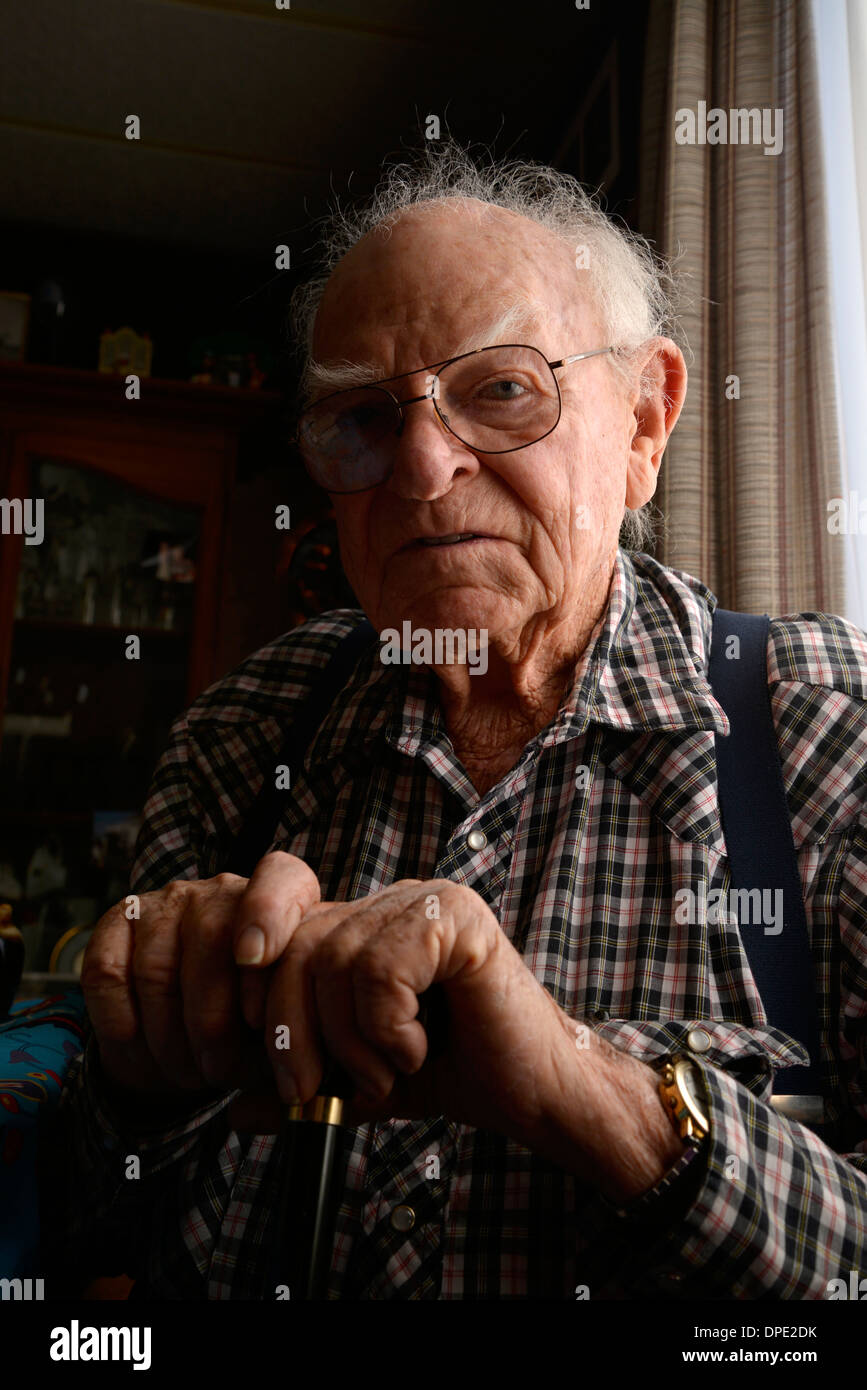 A 93-year-old man at his home. Stock Photo