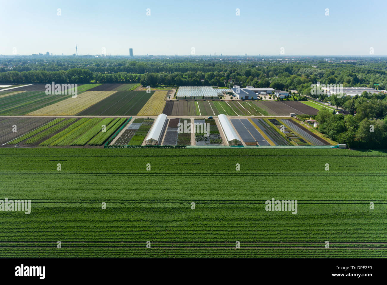 View of agriculture and greenhouses, Munich, Bavaria, Germany - Stock Image