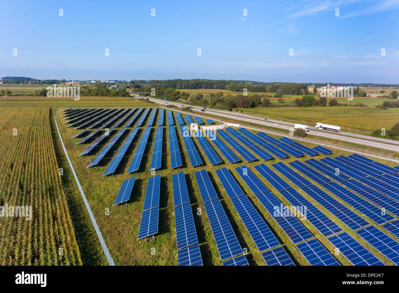 View of solar power panels, Munich, Bavaria, Germany - Stock Image