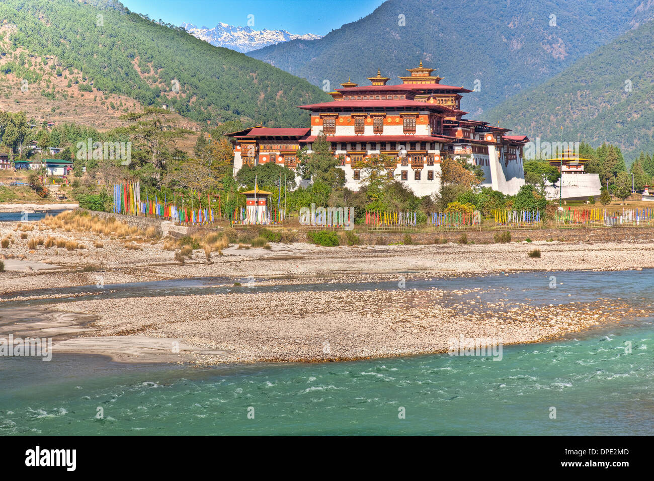 Punakha Dzong Monastery Bhutan Himalayan Mountains Built originally in 1300s Sacred site for Bhutanese people on Phochu & Mochu - Stock Image