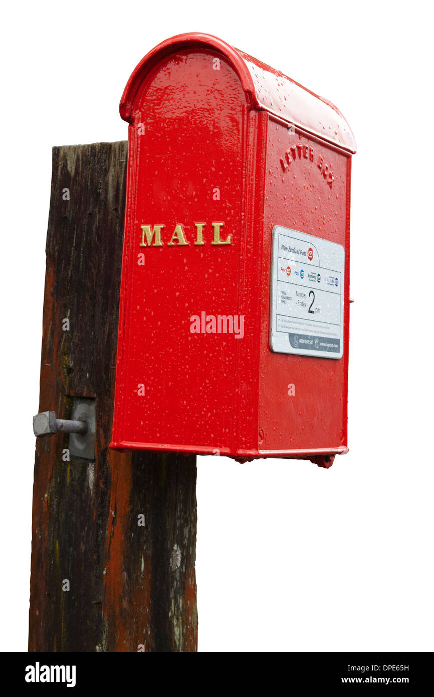 Cutout of old red post box, North Island, New Zealand - Stock Image