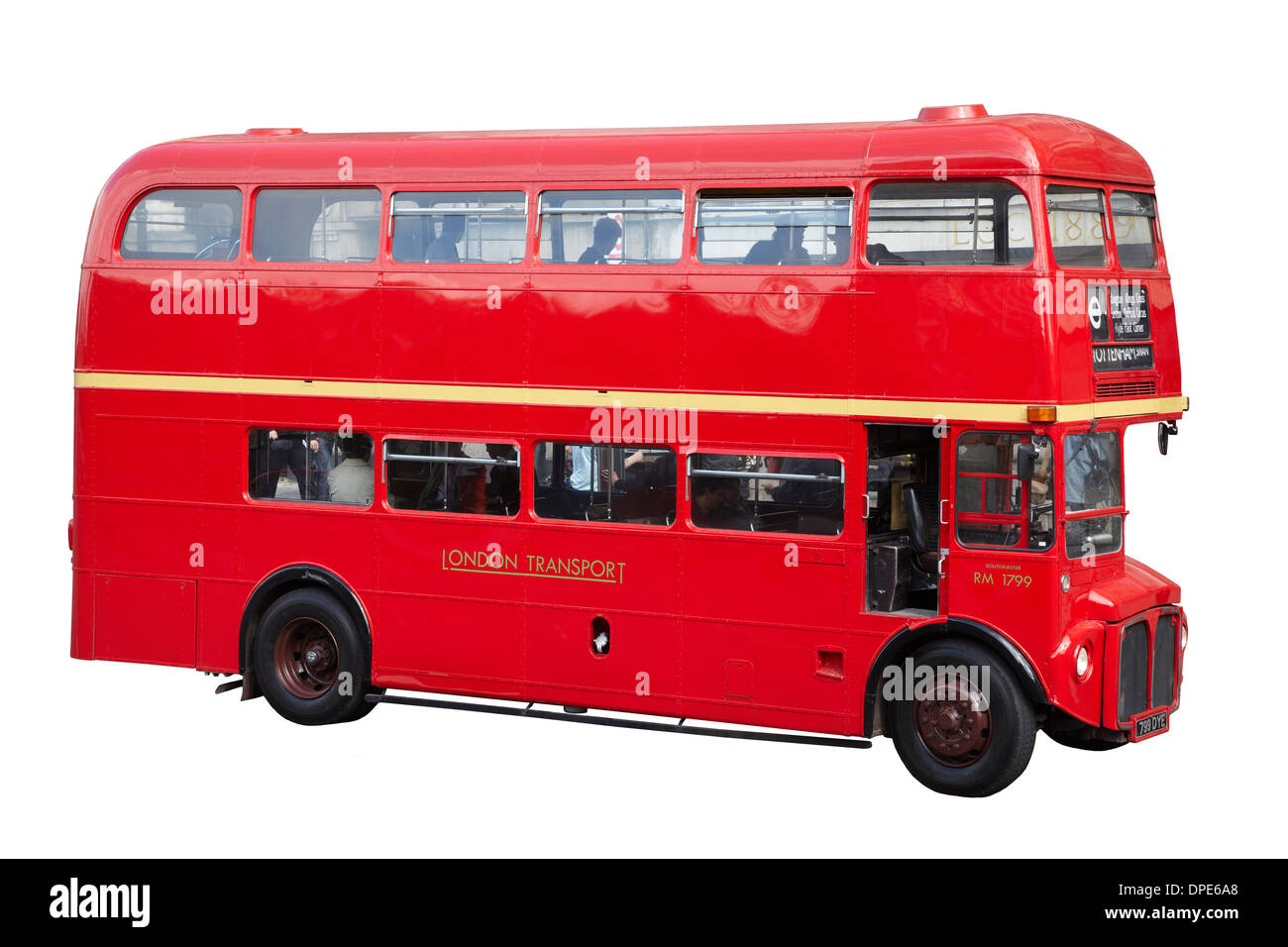 Cutout of old red Routemaster double-decker bus (1963), London, England, United Kingdom - Stock Image