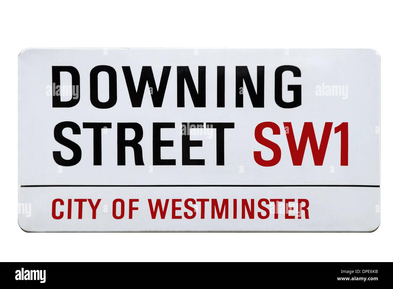Cutout of Downing Street Sign, London, England, United Kingdom - Stock Image