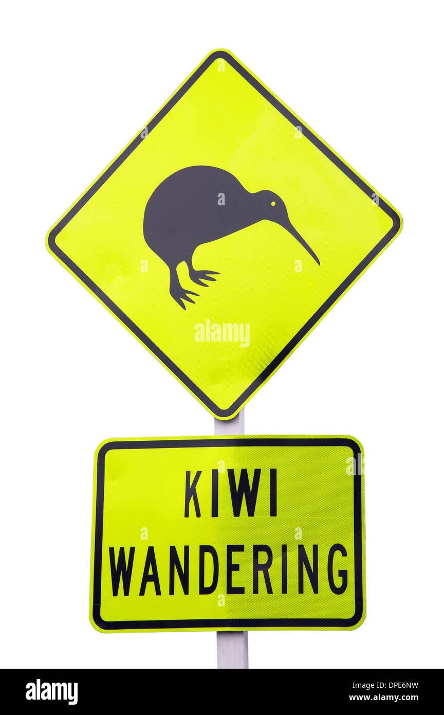 Cutout of Kiwi Wandering warning sign, near Whakatane, Bay of Plenty, North Island, New Zealand - Stock Image