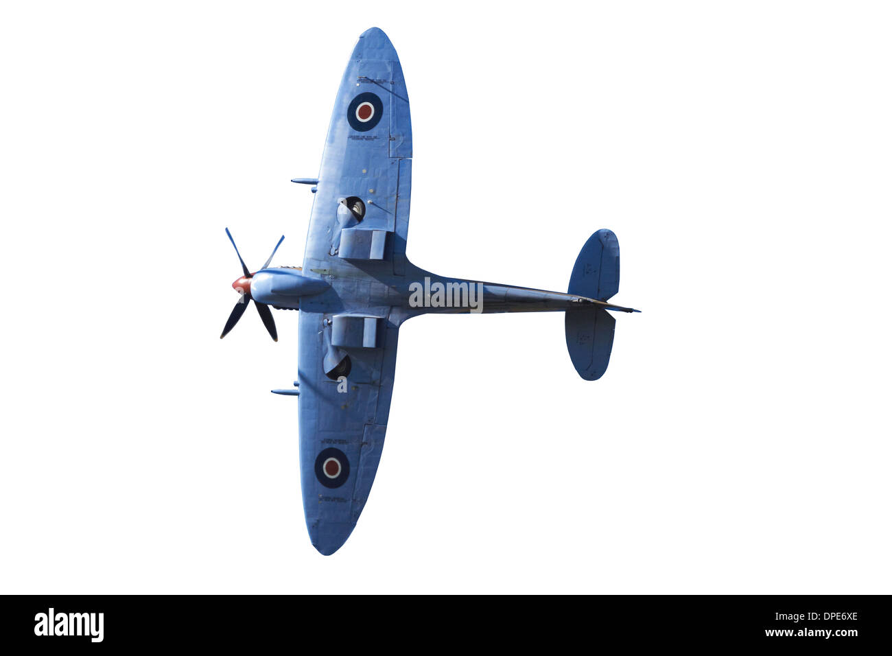 Cutout of Tandem Supermarine Spitfire Trainer - British and allied WWII Fighter Plane - Stock Image