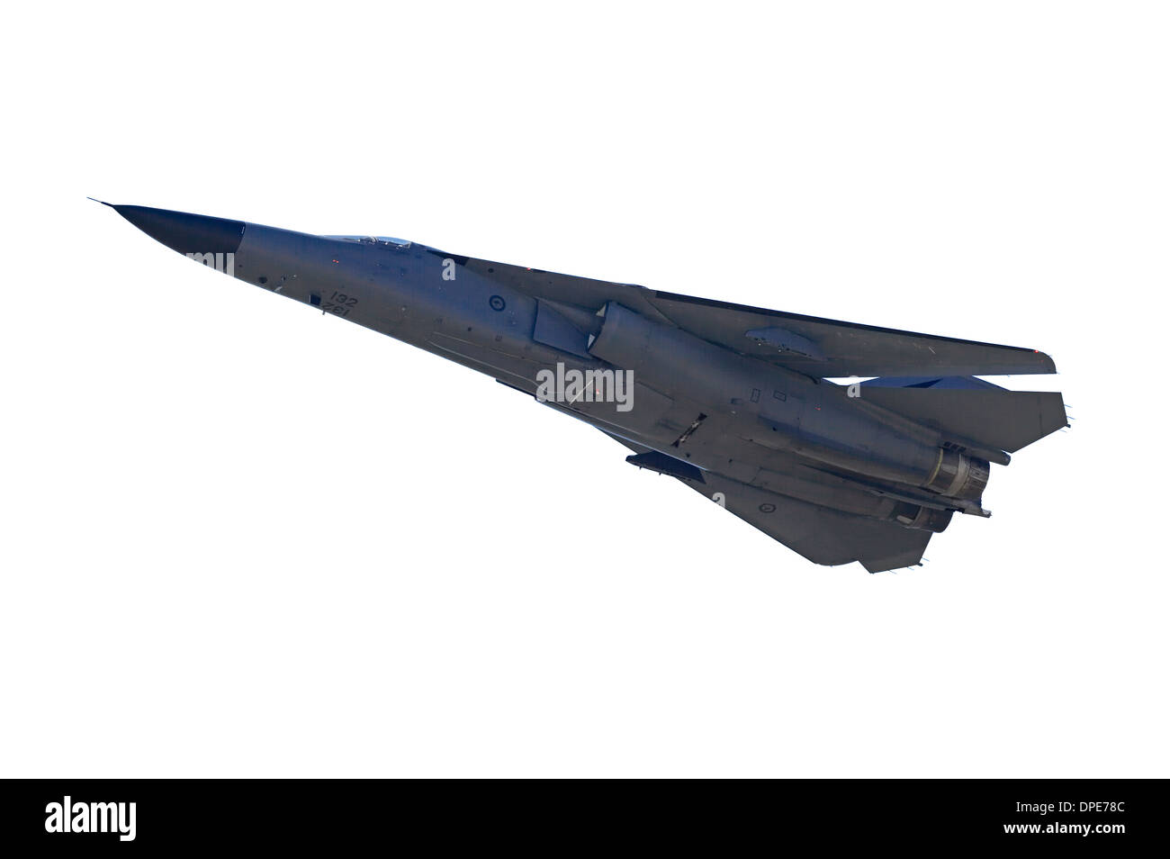 Cutout of General Dynamics F-111 Swing Wing Jet Fighter (RAAF) - Stock Image