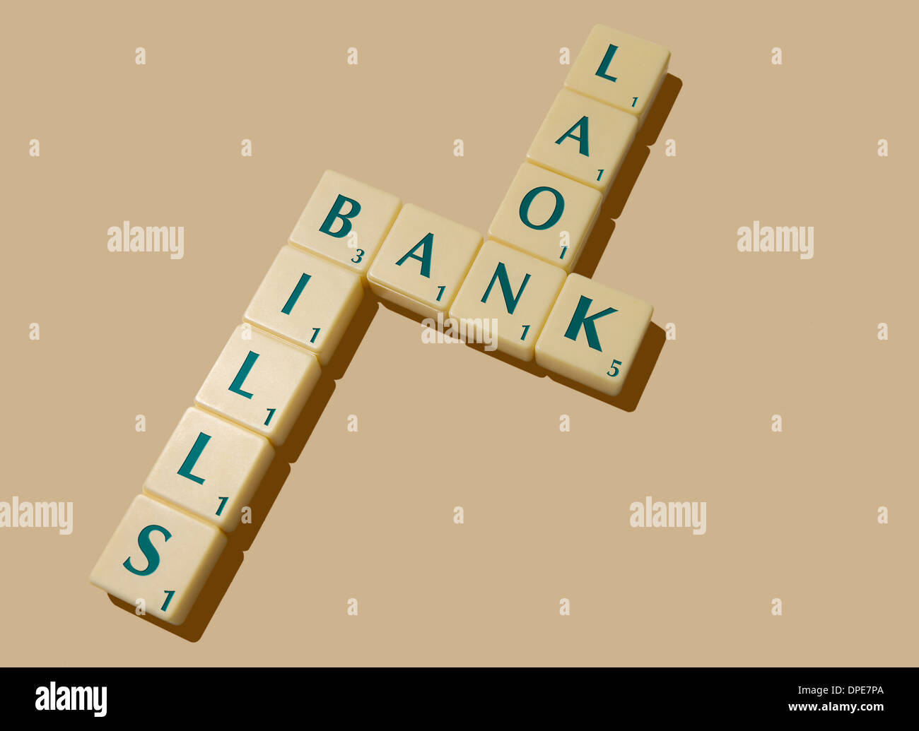 CONSUMER DEBT Concept. Borrowing from the Bank to pay Bills - Stock Image