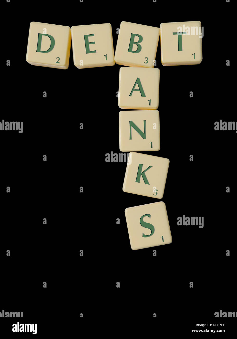 DEBT and BANKS spelled out in Scrabble Pieces. Concept Black Background - Stock Image