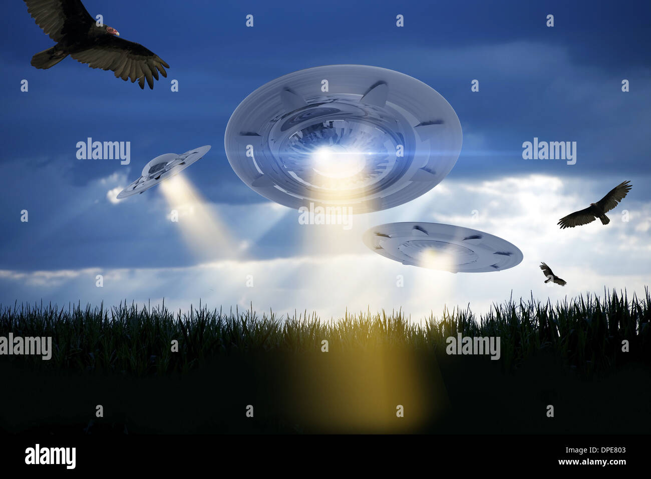 UFO Attack Illustration. Three UFOs Above Corn Field Attacking the Earth. Extraterrestrials Collection. - Stock Image