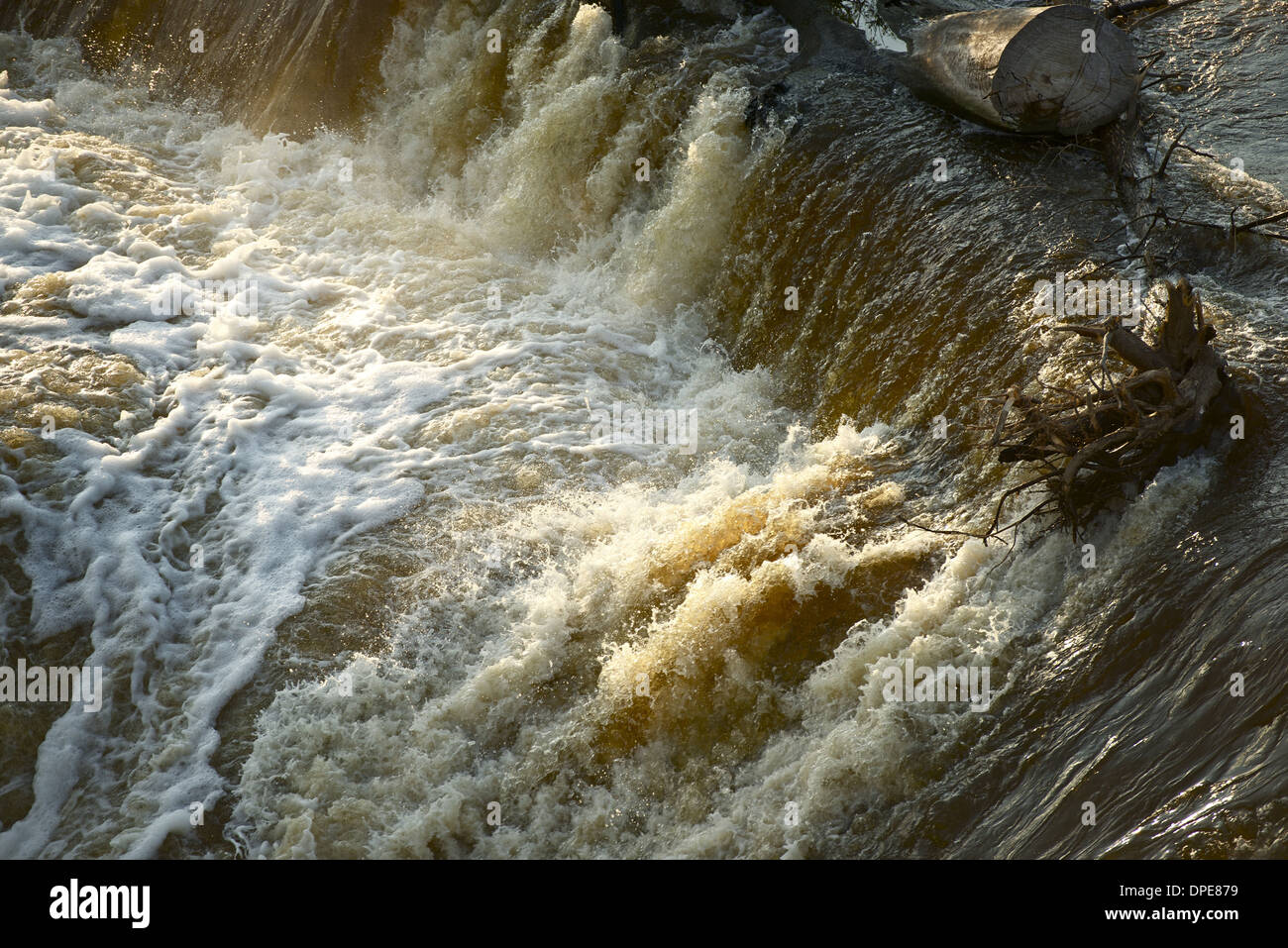 Flood Disaster - Rushing Dark Dirty Waters During Flash Flood. Nature Disasters Photo Collection. - Stock Image