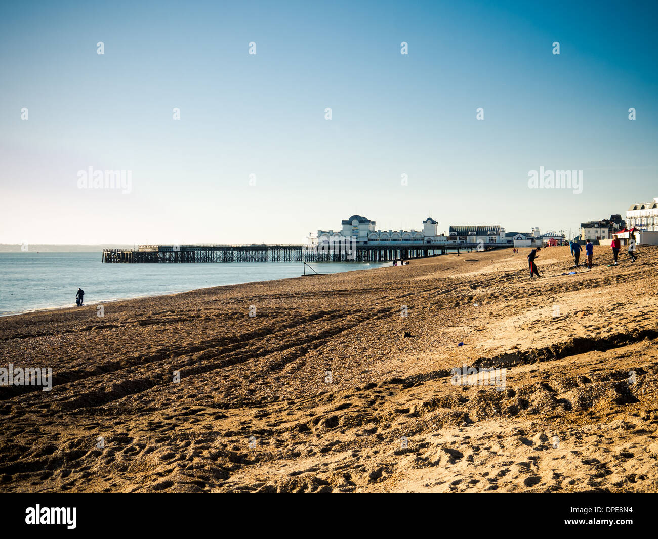 Southsea Beach and south Parade Pier in Portsmouth, Hampshire, England Stock Photo