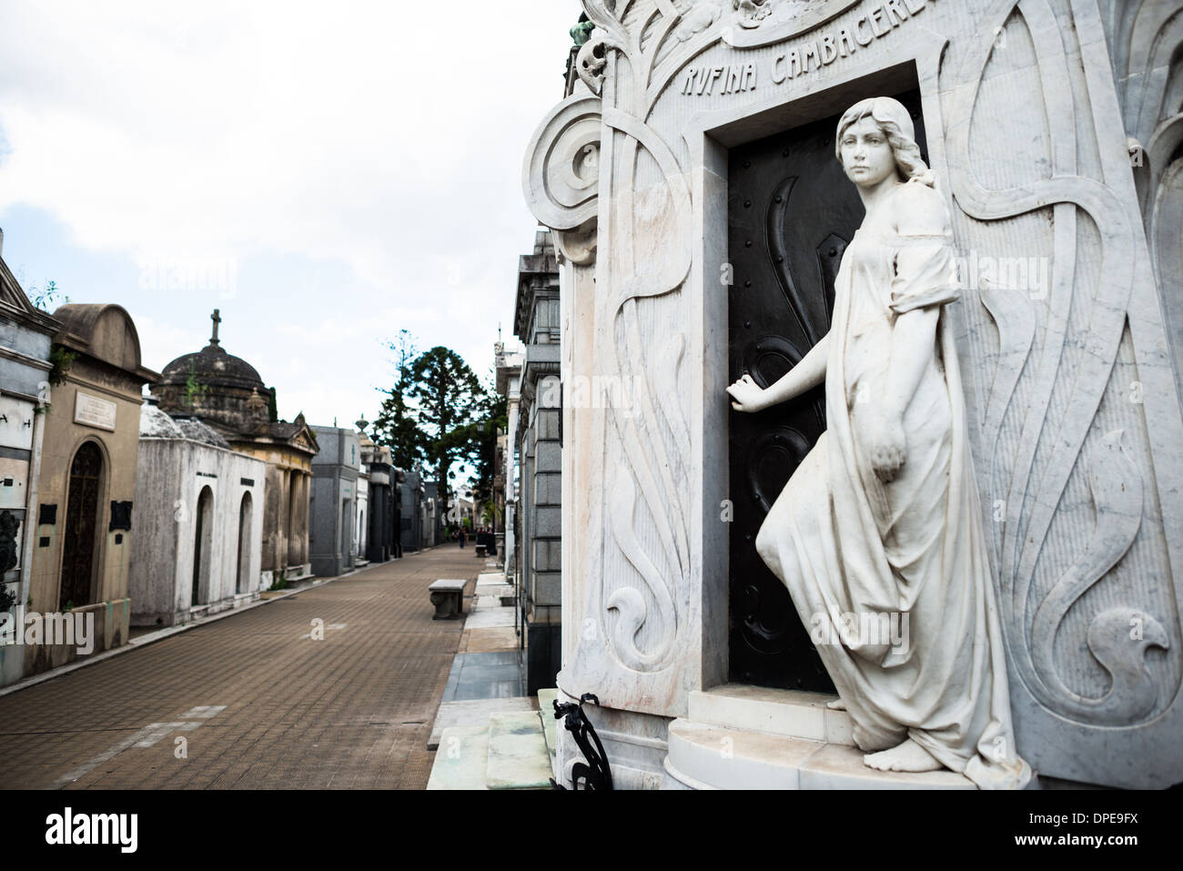 BUENOS AIRES, Argentina - La Recoleta Cemetery is a famous cemetery in the Recoleta neighborhood of Buenos Aires and is famous for being the burial sites of Eva Peron, Argentinian presidents, and other notables. The cemetery features above-ground gravesites and crypts and is organized into a series of streets and boulevards. - Stock Image