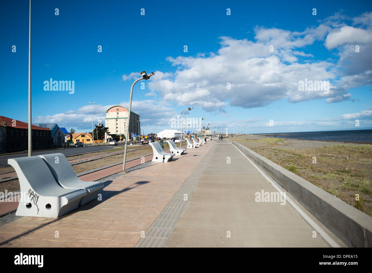 PUNTA ARENAS, Chile - The waterfront of the Strait of Magellan in Punta Arenas, Chile. The city is the largest south of the 46th parallel south and capital city of Chile's southernmost region of Magallanes and Antartica Chilena. - Stock Image
