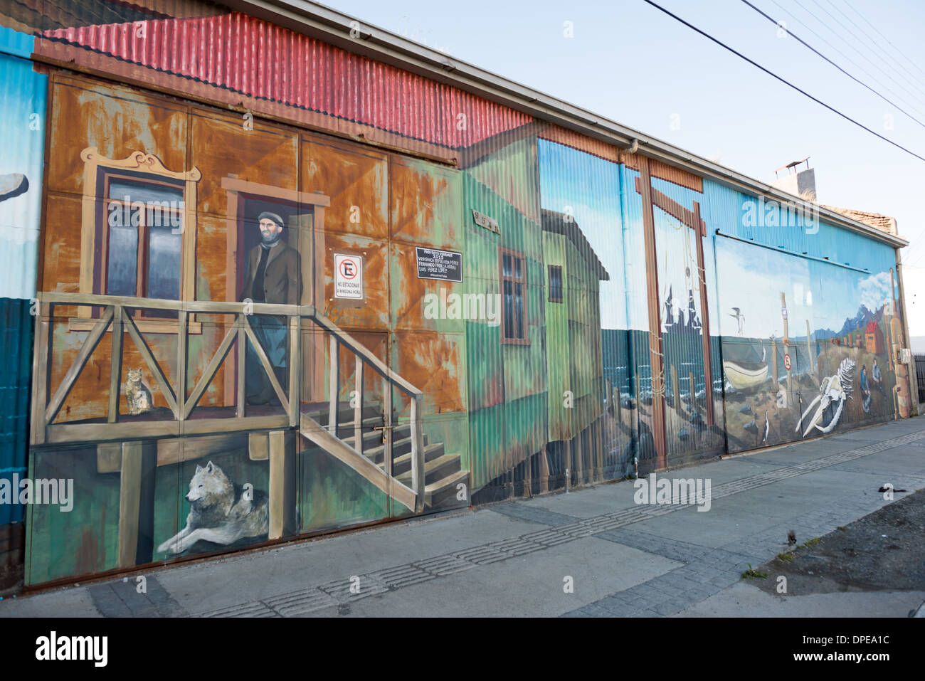 PUNTA ARENAS, Chile - Large painted murals paying tribute to the city's maritime history on buildings on the waterfront of Punta Arenas, Chile. The city is the largest south of the 46th parallel south and capital city of Chile's southernmost region of Magallanes and Antartica Chilena. - Stock Image