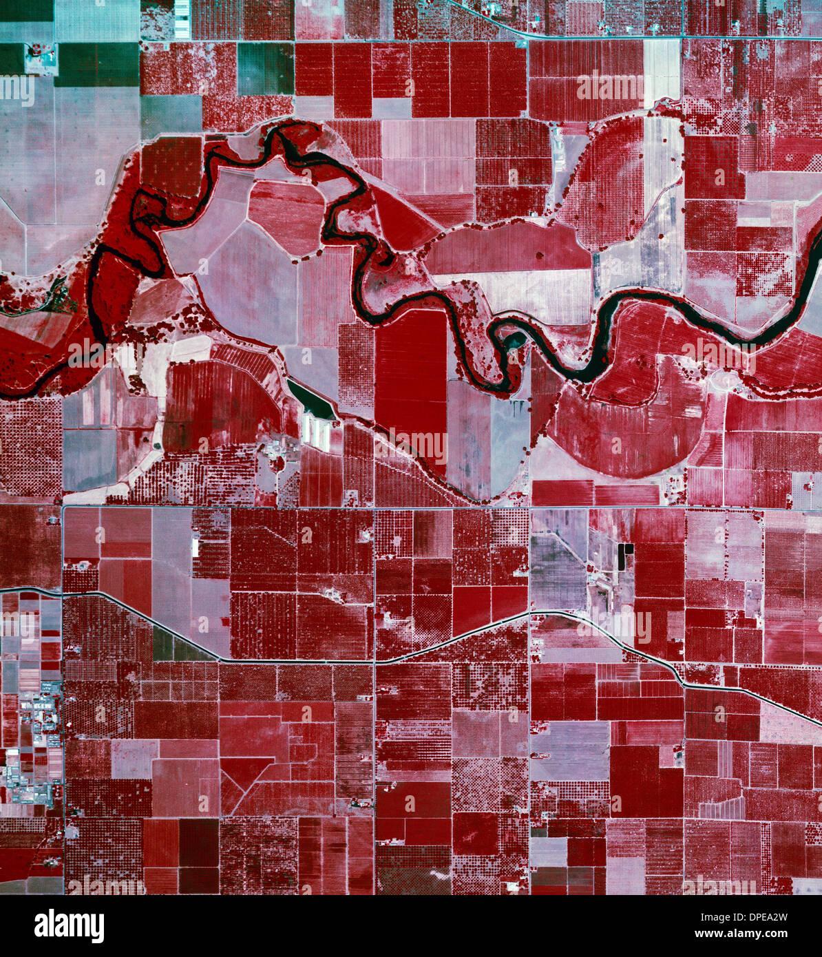 color infrared aerial photograph near Modesto, California - Stock Image