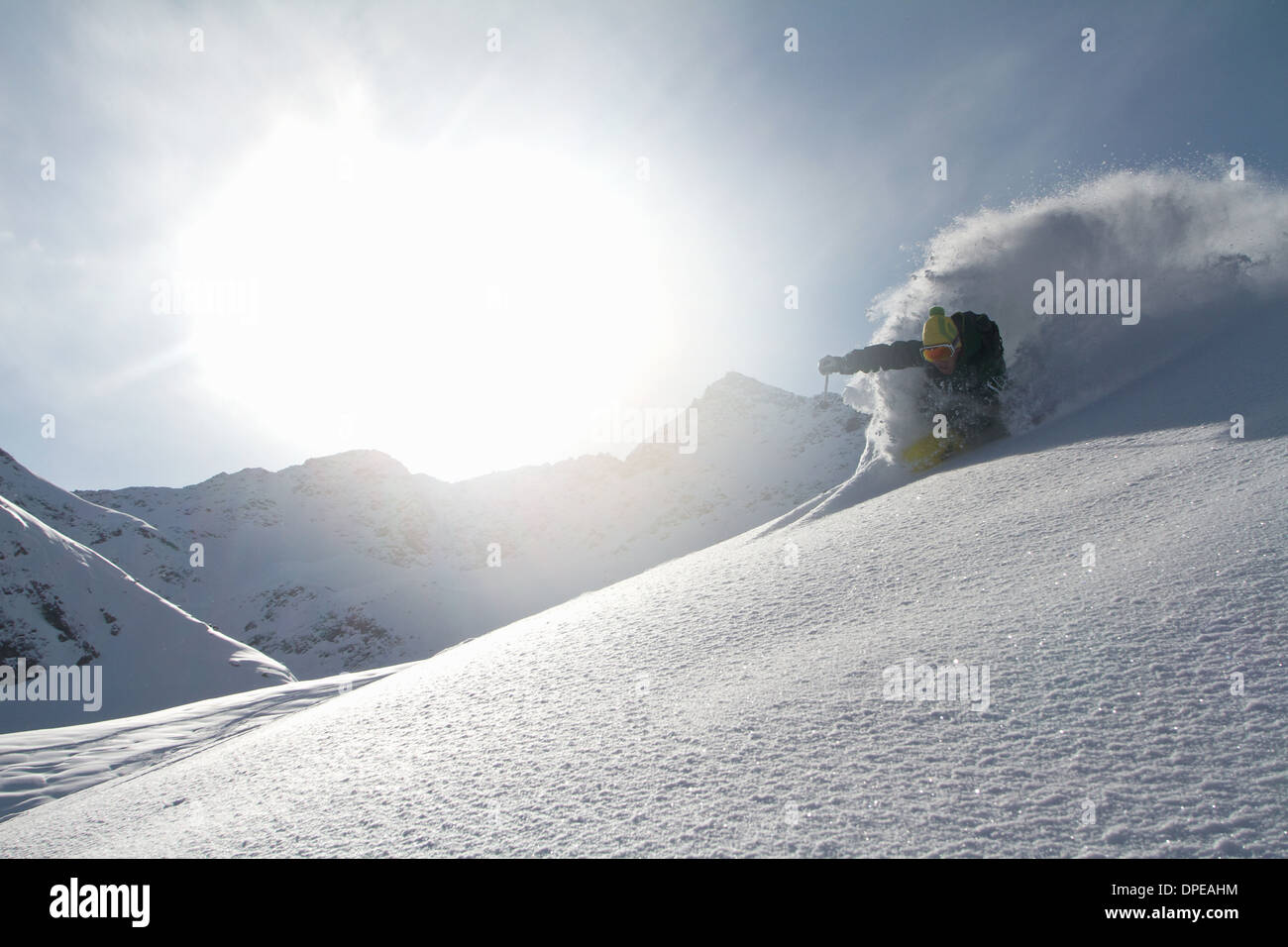 Man skiing off piste in Kuhtai , Tirol, Austria - Stock Image