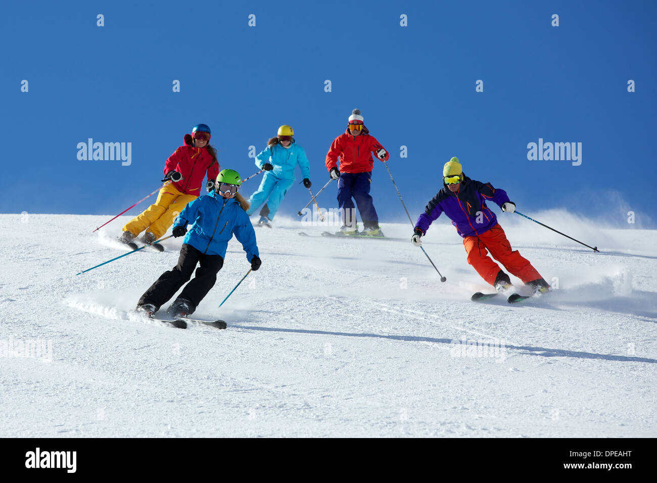 Group of friends skiing in Kuhtai ,Tirol, Austria - Stock Image