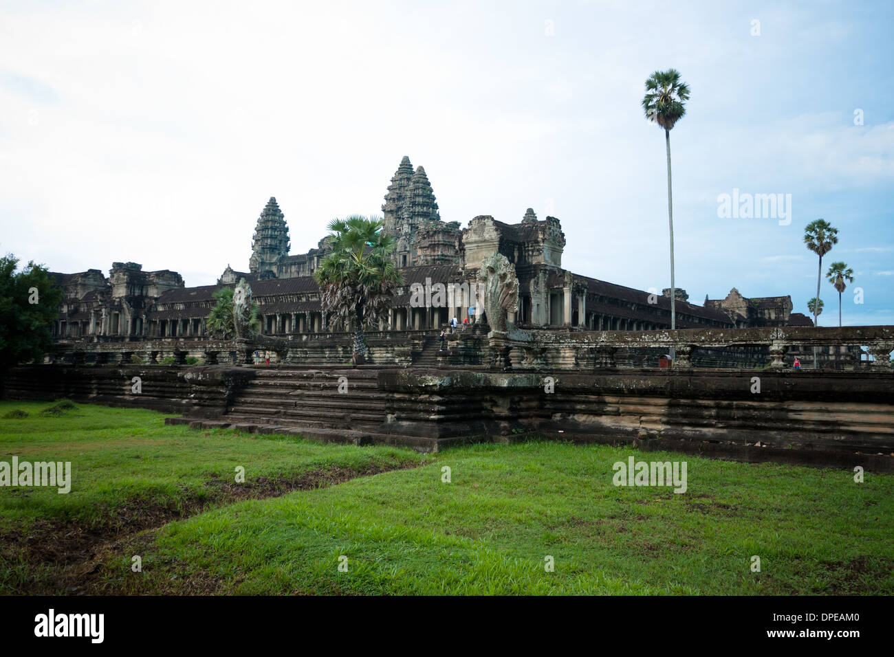A view of Angkor Wat, Cambodia.  Angkor Wat is the largest religious monument in the world. Stock Photo