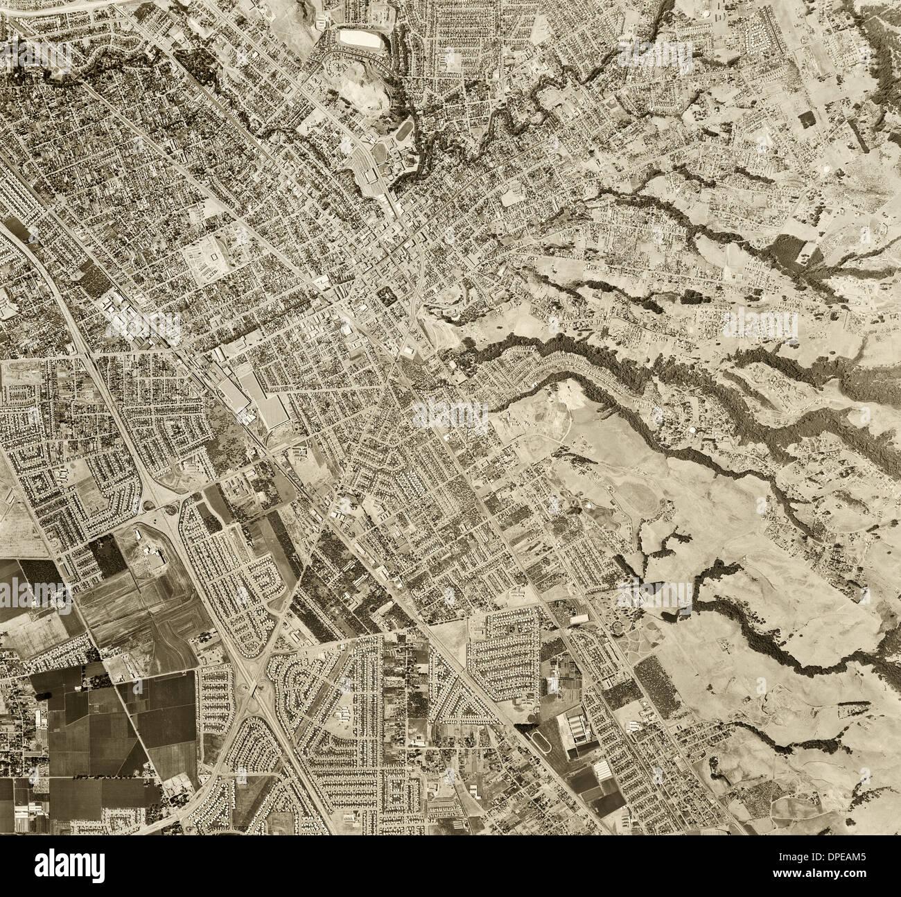 historical aerial photograph Hayward, Alameda county, California, 1958 - Stock Image