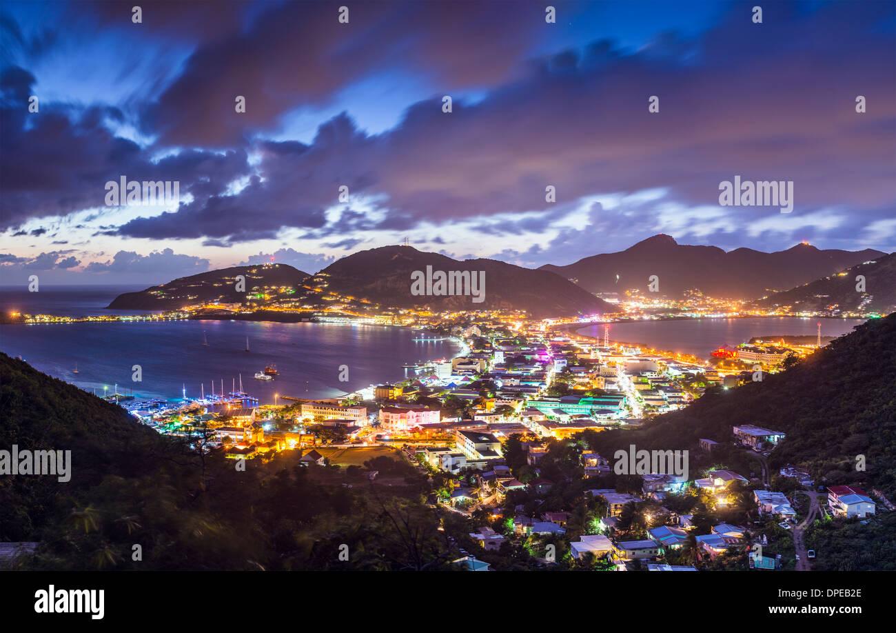 Philipsburg, Sint Maarten, Dutch Antilles cityscape at the Great Salt Pond. - Stock Image