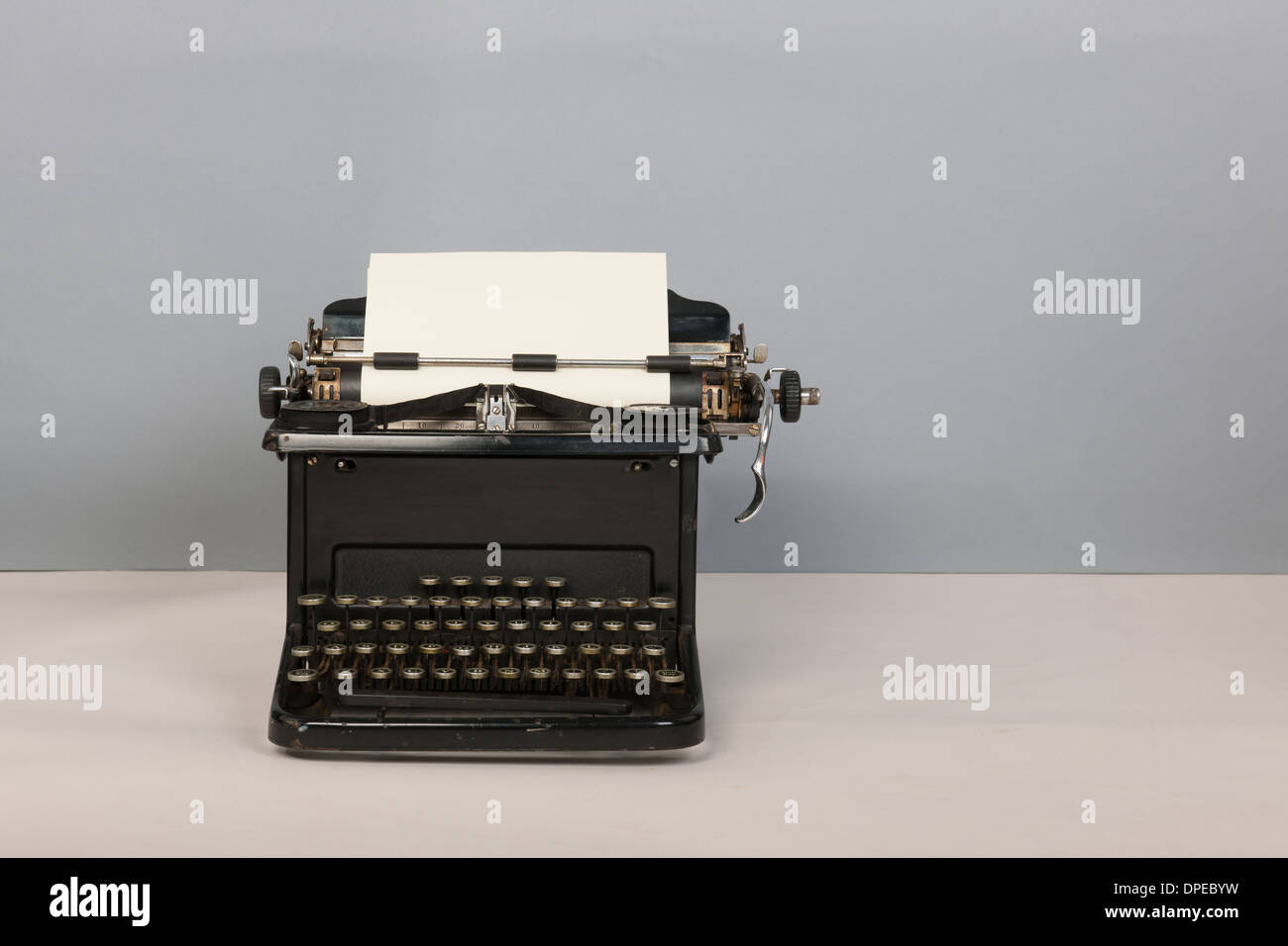 55a703cf536 Antique black typewriter on gray background Stock Photo: 65470269 ...