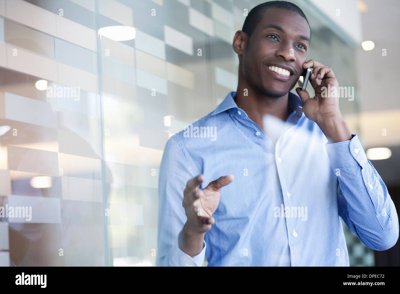 Businessman on telephone call - Stock Image