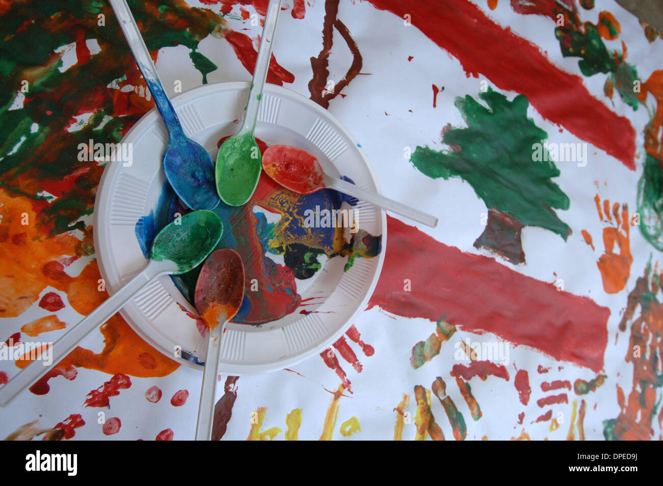 Sep 05, 2006 - Saida, Lebanon - A Lebanese flag that was hand painted by school children as part of a summer camp - Stock Image