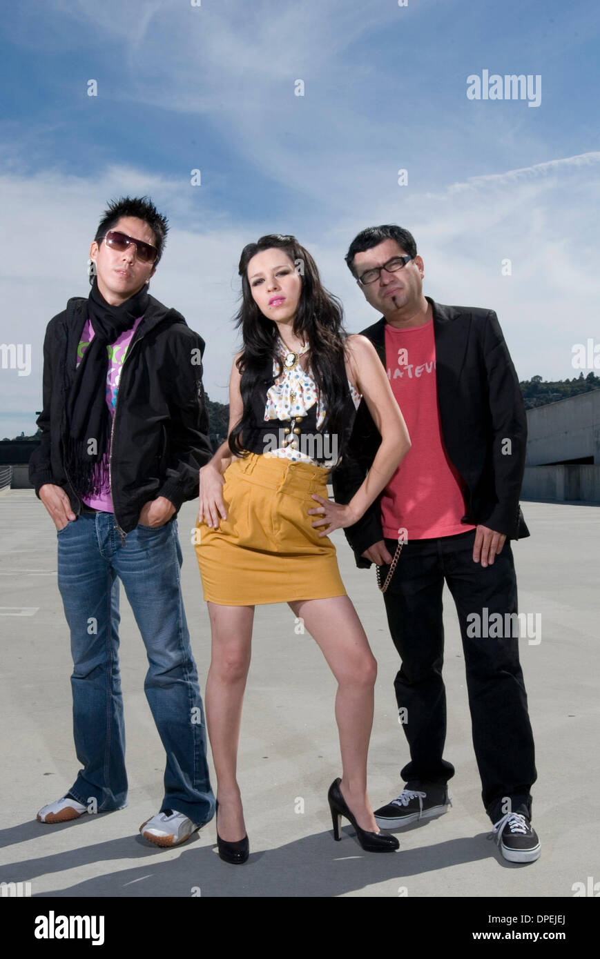 Mar 15, 2006 - Los Angeles, California, USA - Mexican pop-rock band Belanova photographed March 2006. The Latin Grammy-nominated Mexican synth-pop group consists of DENISSE GUERRERO, programmer and keyboarder EDGAR HUERTA, and RICARDO 'RICHIE' AREOLA on bass. (Credit Image: © Leopolda Pena/ZUMA Press) RESTRICTIONS: Exact Date Unknown! - Stock Image