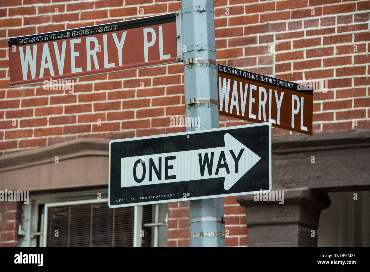 Street Signs at the corner of Waverly Place and Waverly Place in Greenwich Village, New York City, USA Stock Photo