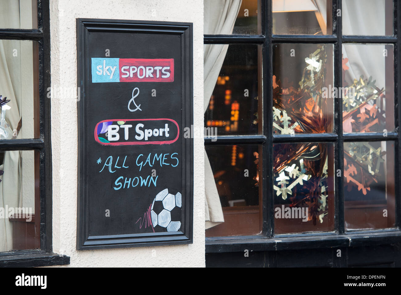 sky sports bt sport tv coverage sign on high street pub in Fareham, Hampshire. - Stock Image